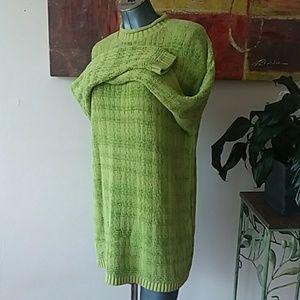 DELIA McKAIN vintage sweater dress green plaidish